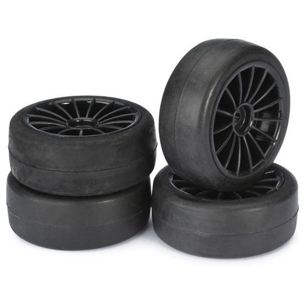 4 pneus slick jantes noires pour piste 1 10 roues pour voiture rc