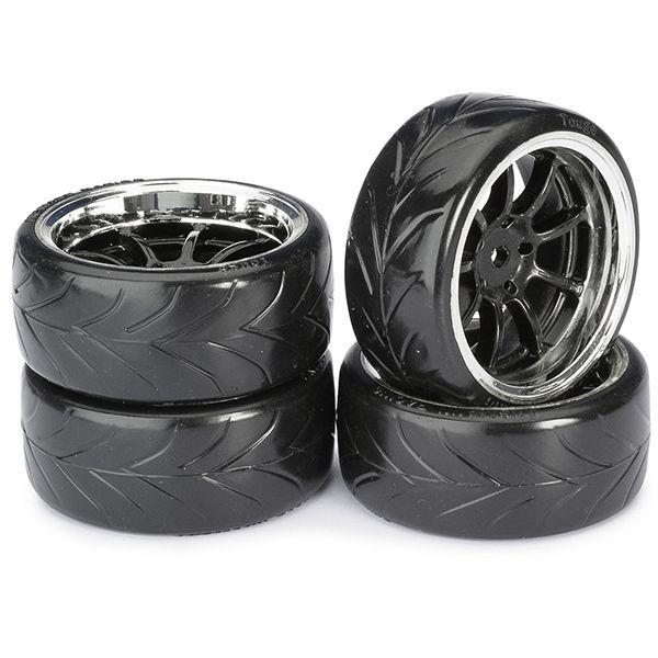 4 pneus drift sculptés sur jantes noires et chrome absima 2510044