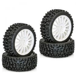 4 pneus maxi cross sur jantes blanches 1/8 hobbytech