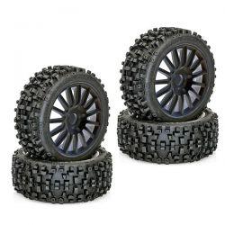 4 pneus maxi cross sur jantes noires 1/8 hobbytech
