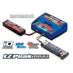 CHARGEUR DOUBLE EZ-PEAK + 2X LI-PO 7.4V 7600MAH TRAXXAS