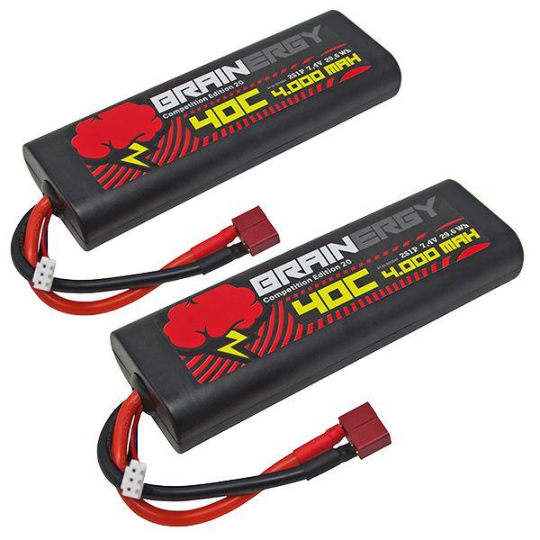 Lot de deux batteries li-po 2s 7.4v 4000mah 45c dean