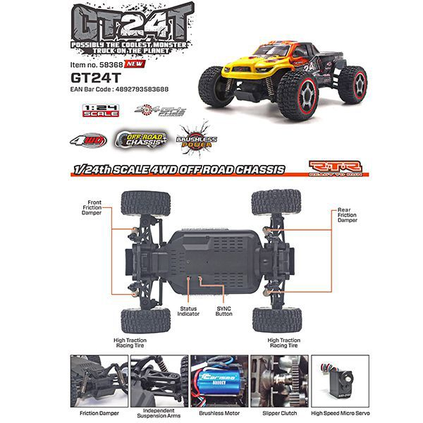 MICRO TRUCK GT24T CARISMA 1/24 4WD BRUSHLESS ROUGE ET BLEU