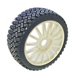 Pneus rallycross hobbytech sur jantes blanches 1/8